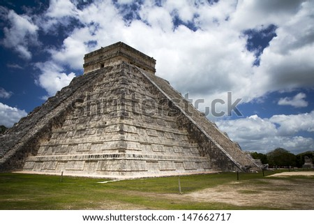 large pyramid in Yucatan Mexico - stock photo