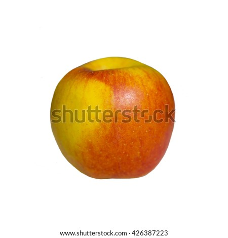 Large red and yellow Apple isolated on white background . Useful vitamin food for diet. Juicy apples for dessert. Healthy fruit. Still life of ripe apples. - stock photo