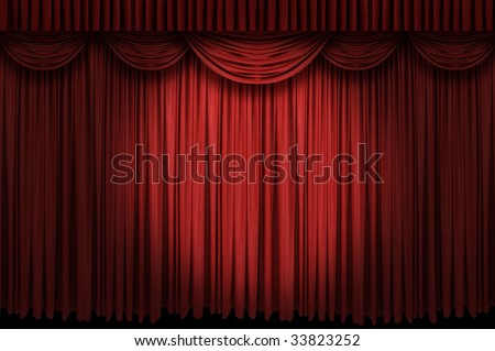 Large red curtain stage opening with spot lights and dark background - stock photo