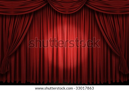 Large red curtain stage with spot light - stock photo