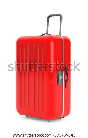 Large Red Polycarbonate Suitcase on a white background - stock photo