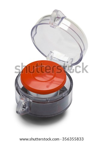 Large Red Push Button Isolated on a White Background. - stock photo