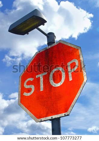 Large red Stop sign with. - stock photo