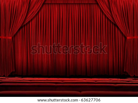 Large Red theater curtain with lights and shadows - stock photo