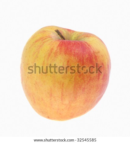 Large red-yellow apple on a white background - stock photo
