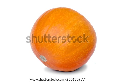 Large ripe pumpkin original oblong yellow. Presented on a white background. - stock photo