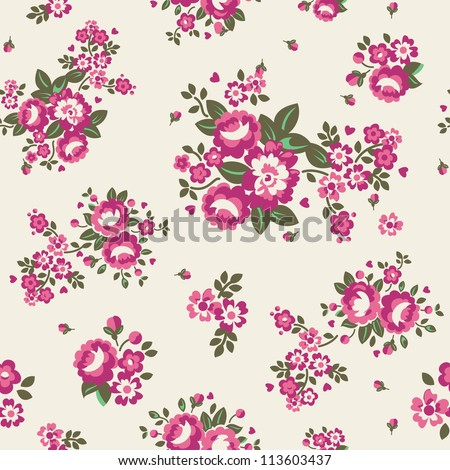 Large Roses Floral Seamless Pattern - Cream Vector illustration of seamless, repeating rose pattern. - stock photo