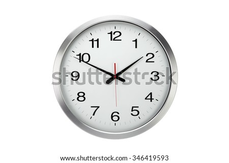 Large round  office wall clock  isolated on white - stock photo