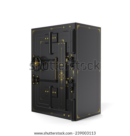 Large safe, closed (done in 3D) - stock photo