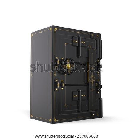 Large safe, closed (done in 3D). Path included - stock photo