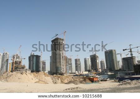 Large Scale Dubai Construction Site - stock photo