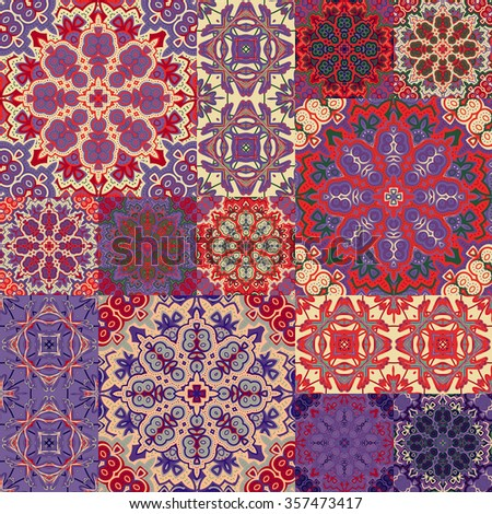 Large set of colorful vintage ceramic tiles with ornate Moroccan patterns. Backgrounds & textures shop. - stock photo