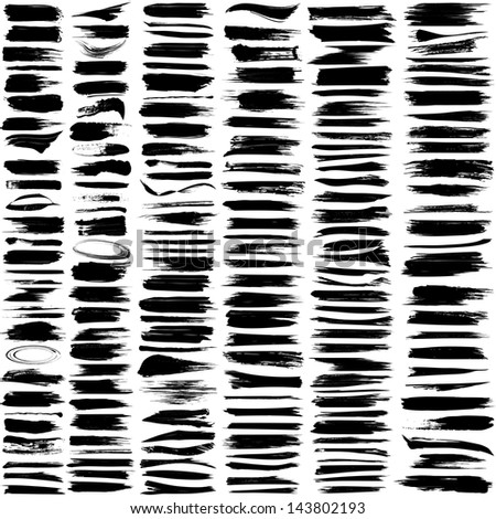 Large set of 180 different grunge brush strokes. For vector version, see my portfolio. - stock photo