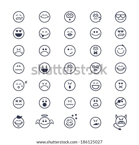 large set of icons of smiley faces on white background - stock photo