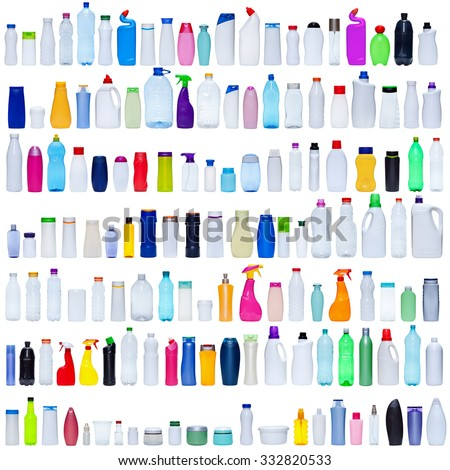 Large set of plastic bottles isolated on white - packaging and pollution concept - stock photo