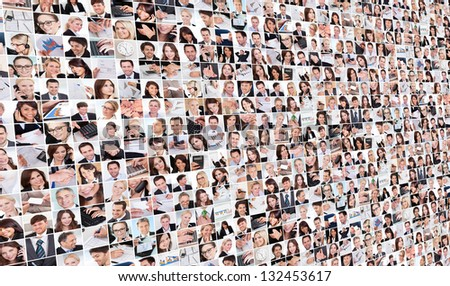Large set of various business images in the office - stock photo