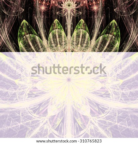 Large sharp flower background with a detailed decorative pattern and stars above it, all in high resolution and bright shining sepia tinted yellow,green,pink,red - stock photo
