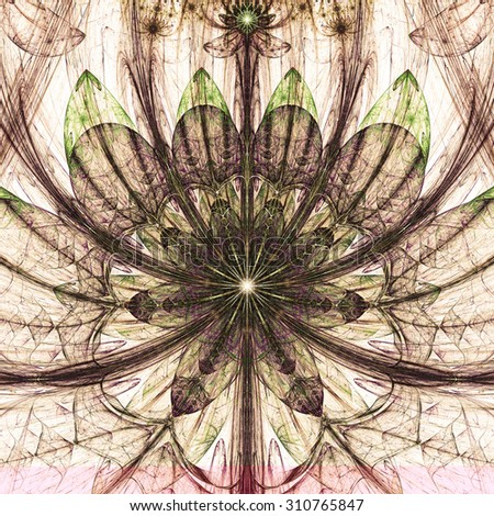 Large sharp flower background with a detailed decorative pattern and stars above it, all in high resolution and dark vivid glowing sepia tinted brown,purple,green - stock photo