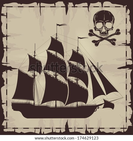 Large ship and skull over old paper. Raster version of the illustration. - stock photo