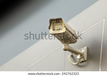 Large size CCTV camera panning - stock photo