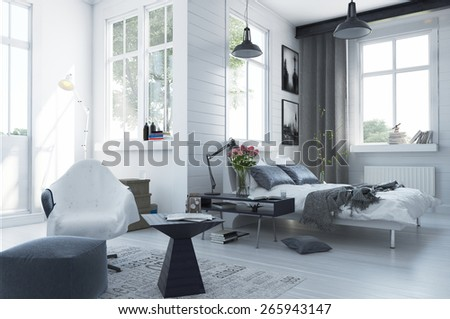 Large spacious modern bedroom interior with grey and white decor, a double divan bed, comfortable seating and numerous windows. 3d Rendering - stock photo
