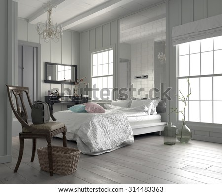 Large spacious modern white bedroom interior with a king size bed flanked by two windows, dressing table and mirror, and a bare parquet floor. 3d Rendering - stock photo