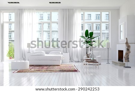 Large spacious monochromatic white bedroom with fireplace, a double bed and large view windows with long elegant drapes in a luxury apartment. 3d Rendering. - stock photo