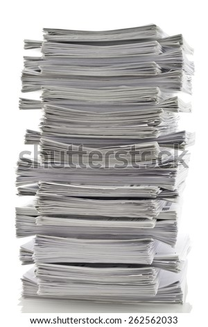 Large stack of papers - stock photo