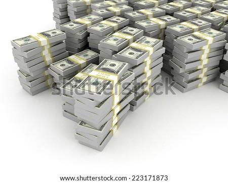 Large stack of US Dollars on white background  - stock photo