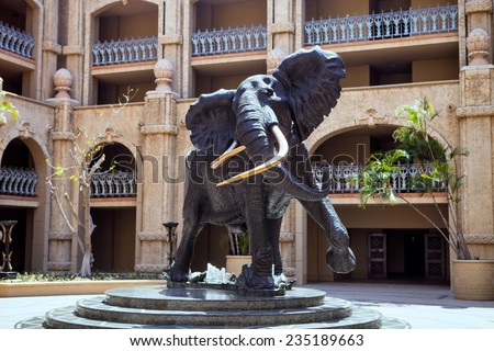 large statue of an African elephant, Sun City, South Africa - stock photo