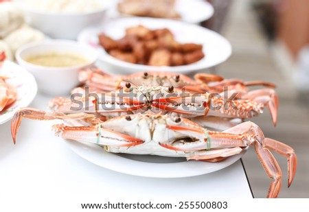 Large steamed horse crab cooked on the plate - stock photo