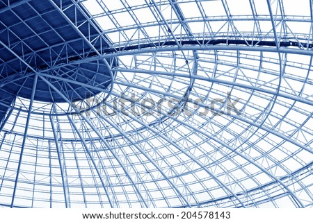 Large steel structure truss, closeup of photo - stock photo