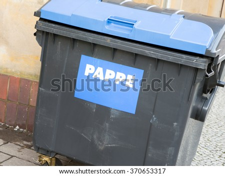 large ton for cardboard and paper / paper waste bin - stock photo
