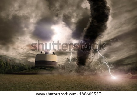 Large tornado with lightning over a meteo station - stock photo
