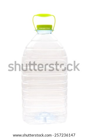 Large transparent bottle with water isolated on a white background - stock photo