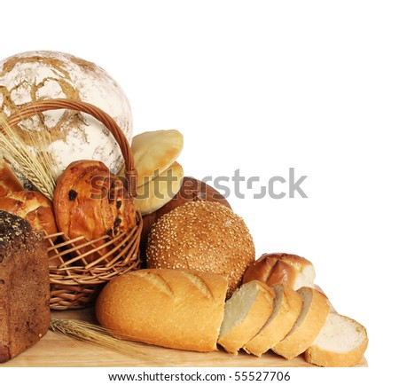 large variety of bread, still life isolate on white  background - stock photo