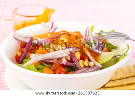 Large vegetable salad topped with pine nuts and generous serving of creamy French Dressing against pink gingham tablecloth with bright light from top right. Selective focus and shallow dof. - stock photo