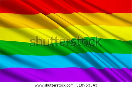 Large version of the gay pride flag - stock photo