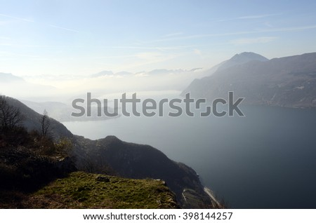 Large view of north Bourget lake and mountains from Chambotte, Savoy - stock photo