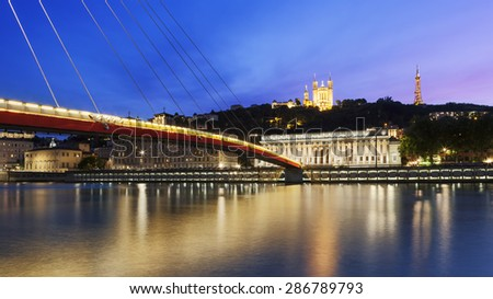 Large view of Saone river at sunset in Lyon city, France - stock photo