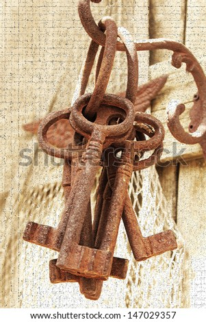 Large vintage keys - stock photo