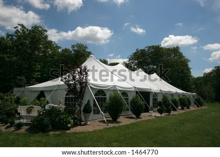large white tent for events - stock photo