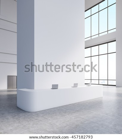 Large windows, steel door, long reception table with laptops on top of it. Concept of corporate business. 3d rendering. Mock up - stock photo