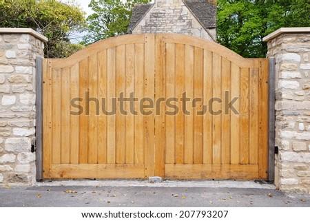 Large Wooden Gateway Background - stock photo