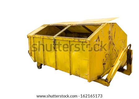 Large yellow metal recycle garbage bin in white background with clipping path - stock photo