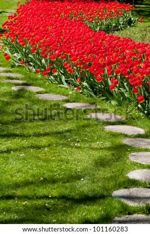 Largest flower garden in Europe - stock photo