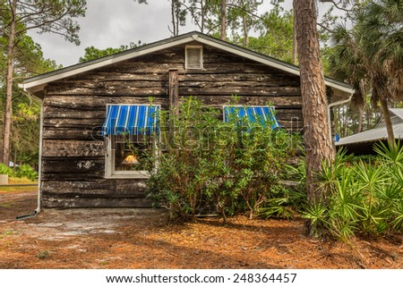 LARGO, FLORIDA - JANUARY 14, 2015 : Beach Cottage in the Pinellas County Heritage Village near Clearwater. Heritage Village is home to some of Florida's most historic buildings. - stock photo