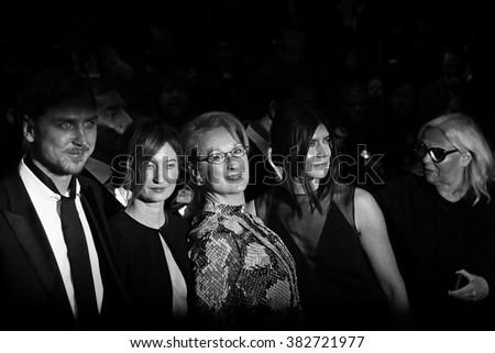 Lars Eidinger, Alba Rohrwacher, Meryl Streep and Malgorzata Szumowska attend the 'Hail, Caesar!' Premiere during the 66th Berlinale International Film Festival on February 11, 2016 in Berlin, Germany. - stock photo