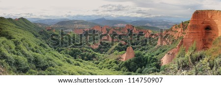 Las Medulas ancient Roman gold mines, UNESCO, Leon, Spain - stock photo
