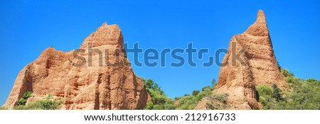 Las Medulas, Panorama of two peaks in the ancient roman mines in Leon, Spain. - stock photo